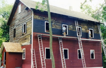 Installing Siding on the Messer/Mayer Mill